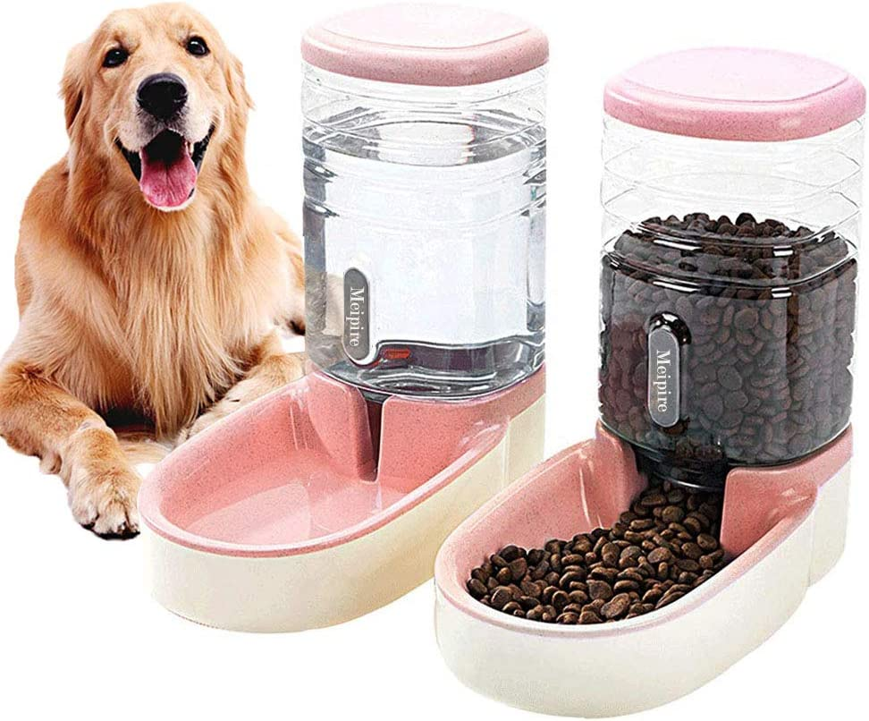 Meipire Pets Auto Feeder 3.8L,Food Feeder and Water Dispenser Set for Small & Big Dogs Cats and Pets Animals