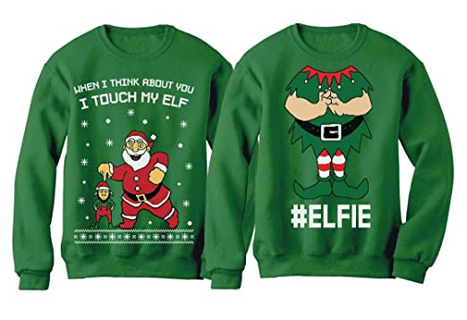 6a2f33cff30f I Touch My Elf + Elfie Ugly Christmas Sweater Sweatshirt Funny Couple Xmas  Set Touch My
