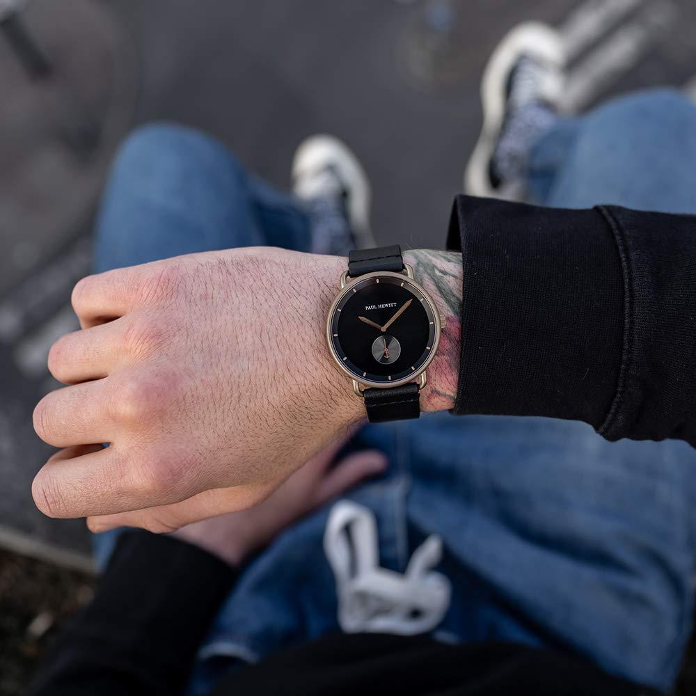 PAUL HEWITT armbandsur män rostfritt stål breakwater black sunray – herr klocka med svart siffertavla Svart brons | läder Pure Black