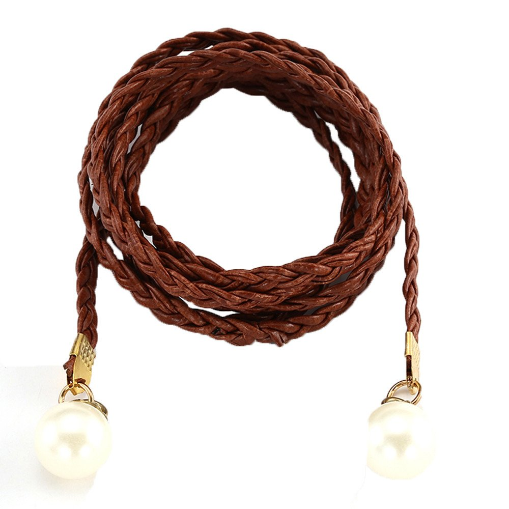 Jauntly Women's Belt Simple Style With Fur Woven Fringed Thin Waist Chain Waist Rope (Brown)