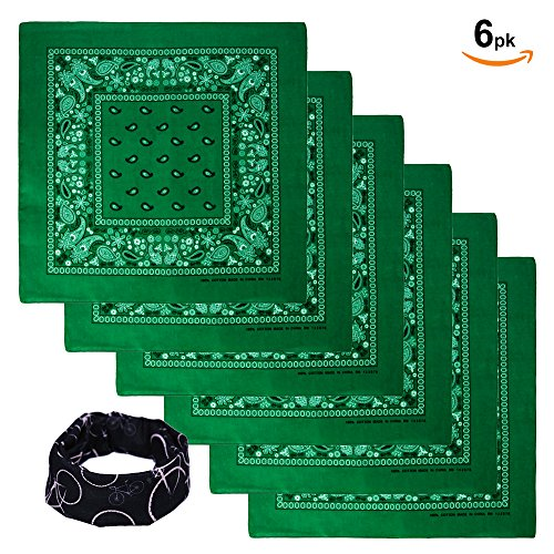 Basico Bandanas Value Pack 100% Cotton Paisley Head Wrap with Tube Face Mask/Headband (6pk- Kelly (Green Bandana)