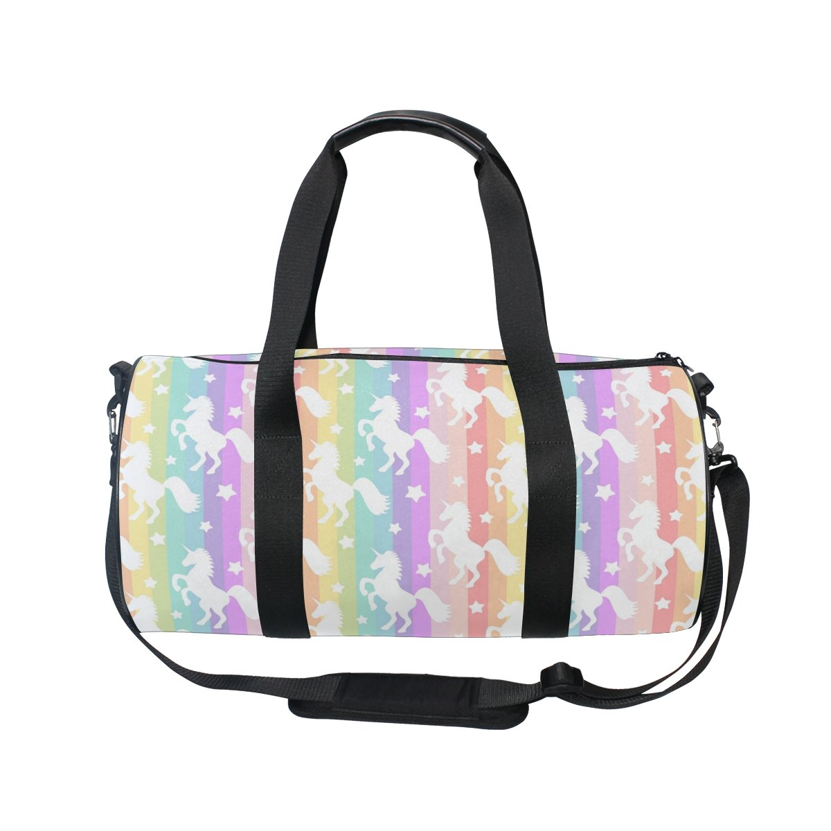 ALAZA Colorful Rainbow Unicorn Sports Gym Duffel Bag Travel Luggage Handbag for Men Women