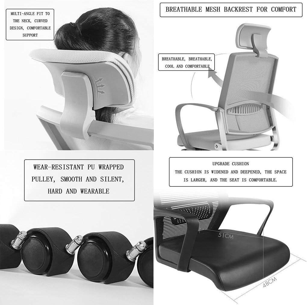 JIADUOBAO-S Fauteuil de bureau à rabat avec accoudoirs et tête réglable et dossier haut en maille filet ergonomique Noir Taille S B