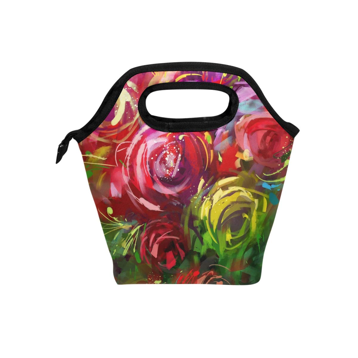 2124af789f2c Amazon.com: TropicalLife Lunch Tote Bag Art Rose Zipper Insulated ...