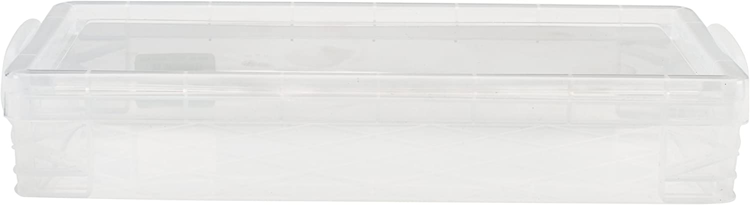 Super Stacker Pencil Box, 8.25 x 1.5 x 4 Inches, Clear, 1 Box (40309) : School Supply Boxes : Office Products