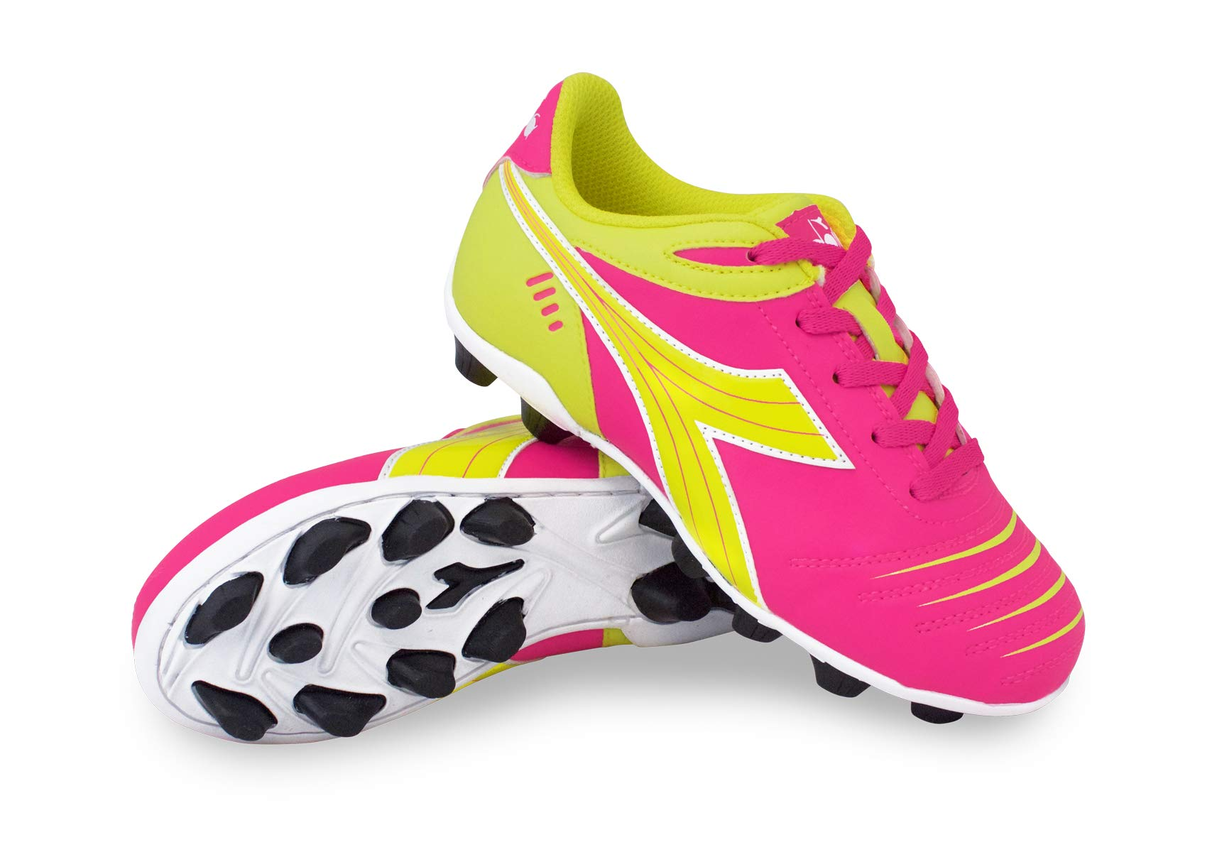 Diadora Kid's Cattura MD JR Soccer Cleats (6 M US Big Kid, Neon Pink/Neon Yellow)