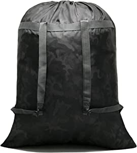 HOLYLUCK Large Laundry Bag [26''x34''] Sturdy rip Tear Resistant Polyester Material with Drawstring Closure Ideal Machine Washable Laundry Bags for College Dorm and Apartment dwellers (Black camo)