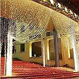 NEXGADGET Luces de Cortina LED 3m* 3m, Luces al Aire Libre de Blanco Resistente al Agua, Codena de Luces de Navidad con 8 Modelos de Iluminación para la Decoración de Fiestas y Bodas, etc (Blanco Cálido)