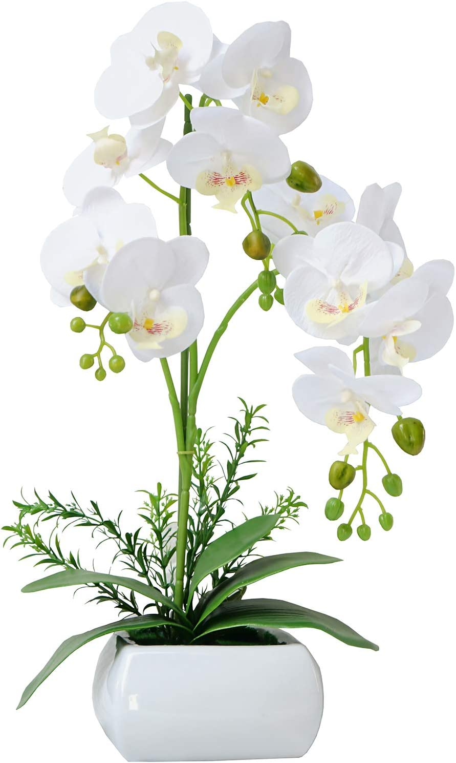 GXLMII Artificial Orchid with Vase for Kitchen Table Centerpiece, Faux Orchid Flowers Arrangements for Home Decor, Silk Phalaenopsis Fake Orchid White Artificial Flowers with Pot