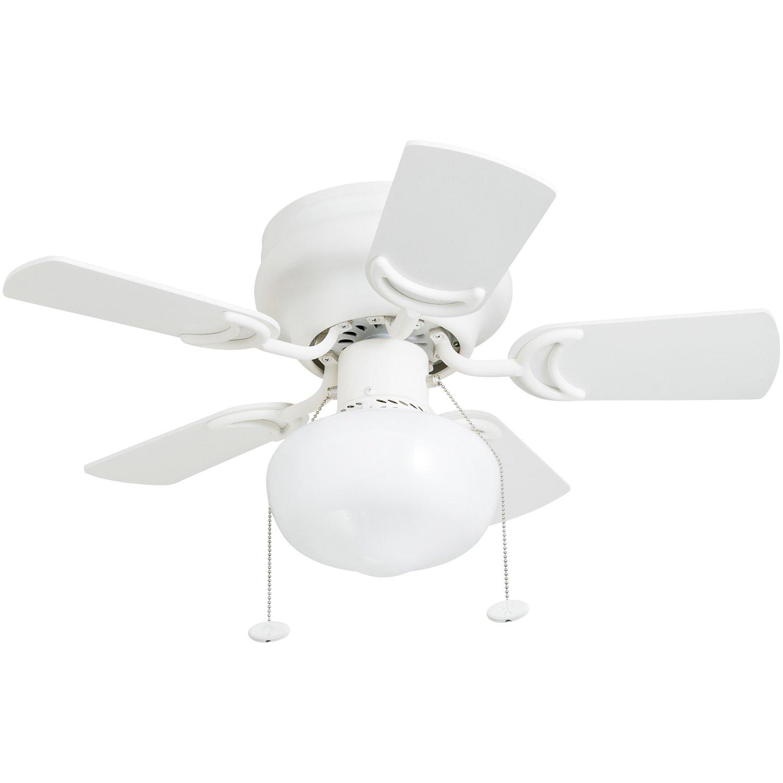 "Prominence Home 41530-01 Hero 28"" Hugger Small Ceiling Fan, LED Schoolhouse Globe, Glossy White"