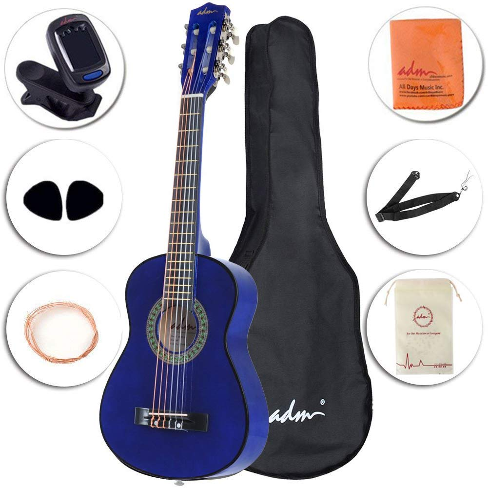 ADM Beginner Classical Guitar 30 Inch Steel Strings Blue Bundle Kit with Gig Bag, Tuner, Strings, Strap, and Picks by ADM