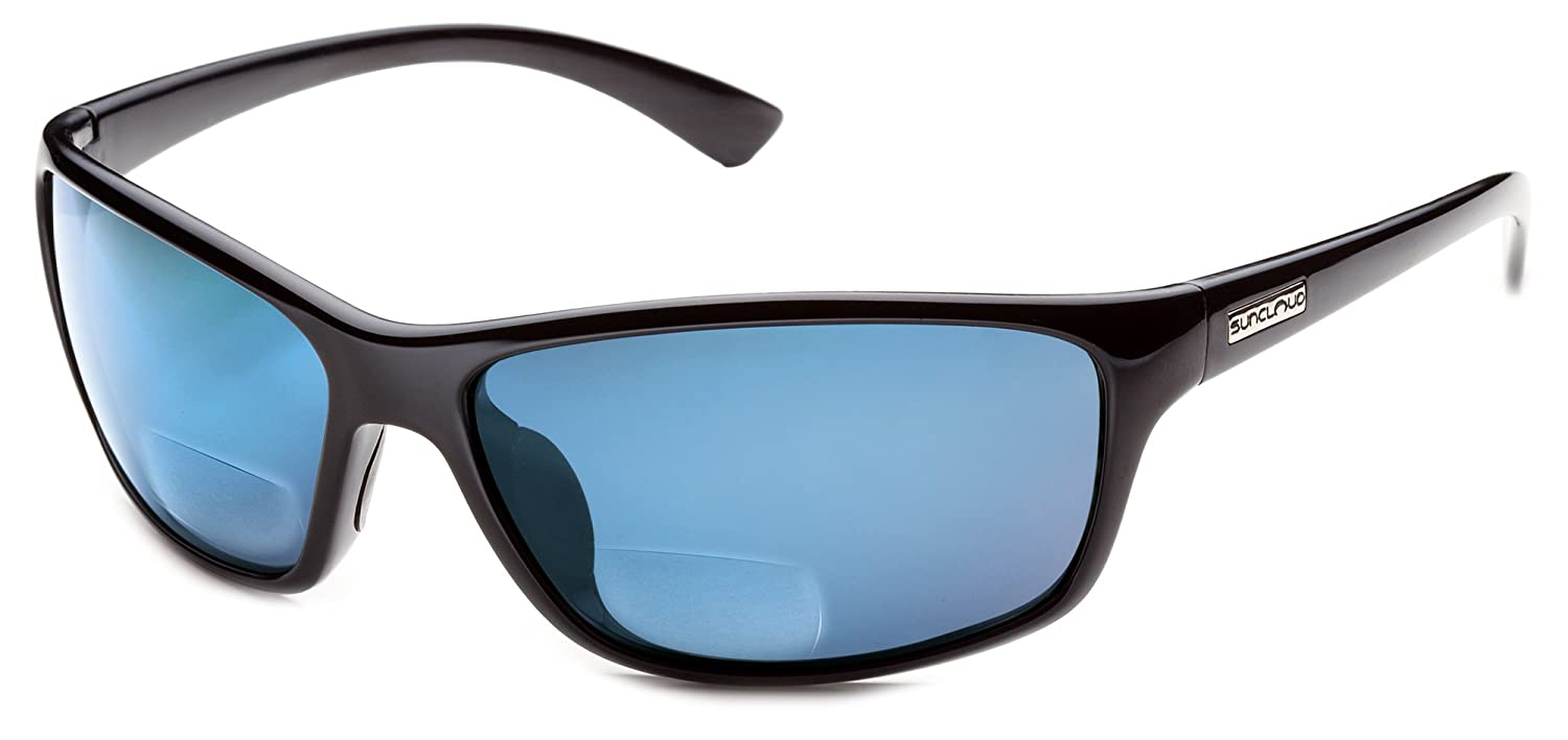 b788d2827a Amazon.com  Suncloud Sentry Polarized Bi-Focal Reading Sunglasses in  Black Blue Mirror +1.00  Clothing