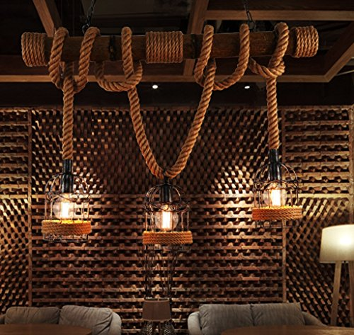 Lámpara de caña de cáñamo Retro Amboo creativo Tres Cabezas Restaurante Bar Iluminación Ceilinglamp Café Light Light...