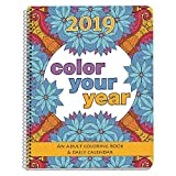 2019 Adult Coloring Book Daily Planner - Calendar, Spiral Bound, Designer Planning Organizer 8.5 x 11 Inches. Gift Sister, Mother, Busy Grown Up