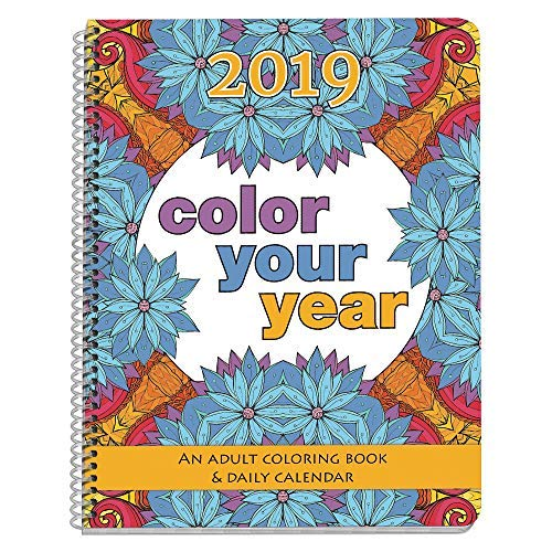2019 Adult Coloring Book Daily Planner - Calendar, Spiral Bound, Designer Planning Organizer 8.5 x 11 Inches. Gift Sister, Mother, Busy Grown Up -