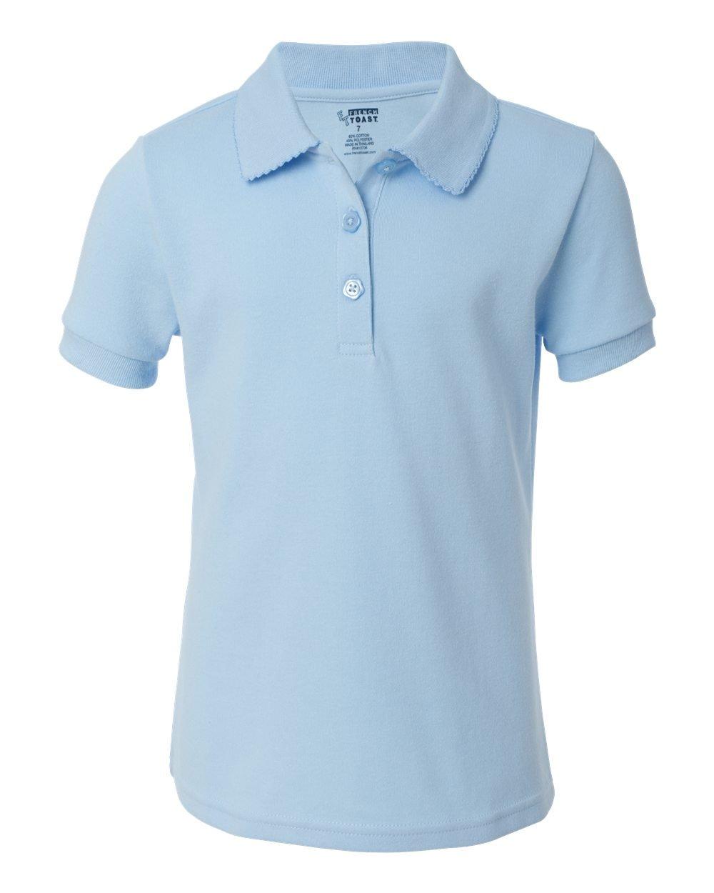 French Toast School Uniform Girls Short Sleeve Interlock w/ Picot Collar, Blue, 16