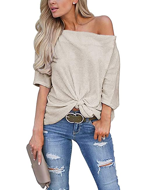 Mafulus Womens Off The Shoulder Shirts Waffle Knit Knot Front Batwing  Sleeve Loose Tunic Tops