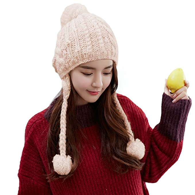 d73bb3d12ae Siggi Womens Cable Knit Beige Peruvian Wool Hat Winter Pom Beanie with Detachable  Earflap
