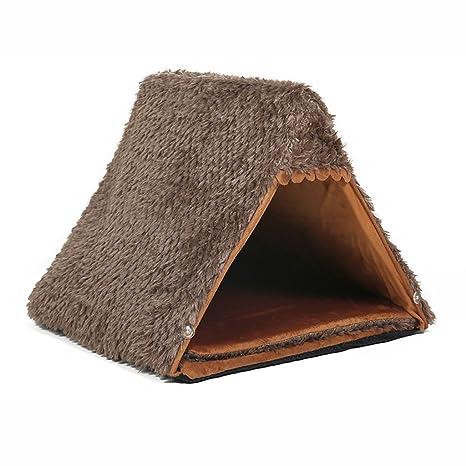 JUEJIDP Caseta para Mascotas Invierno Peluche Perro pequeño yurta Tienda Nido casa de Perro Estera Cuatro