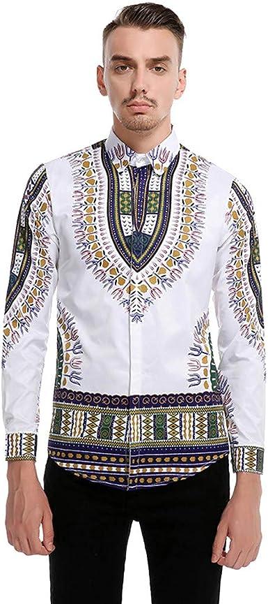 Yvelands Moda Hombre Vintage impresión Africana de Manga Larga con Cuello Alto Tops Camisa de Verano Blusa: Amazon.es: Ropa y accesorios