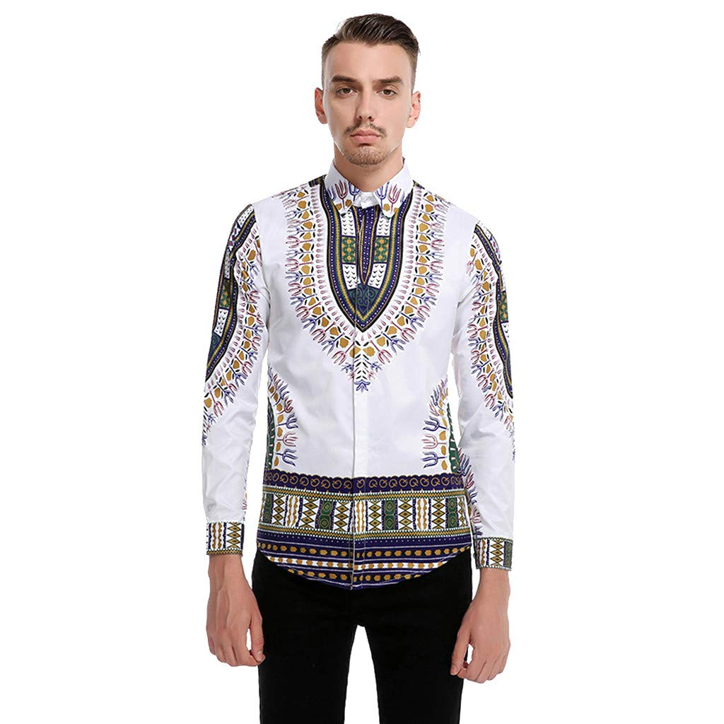 Fashion Men Vintage African Print Long Sleeve Turn-Down Collar Tops Shirt Blouse