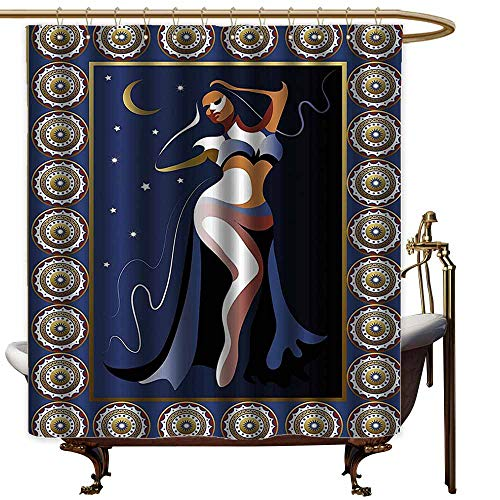 Travel Shower Curtain,Modern Decor Arabic Ottoman Turkish Belly Dancer with Moon and Stars Image Artprint,Bathroom Decoration,W55x84L,Navy White Gold