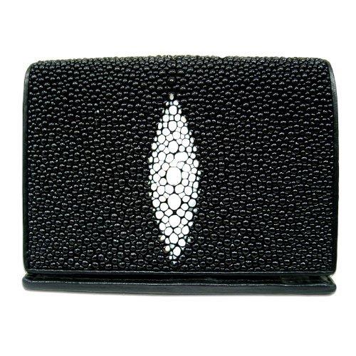 Genuine Stingray Leather Men's Tri-fold Wallet in Black