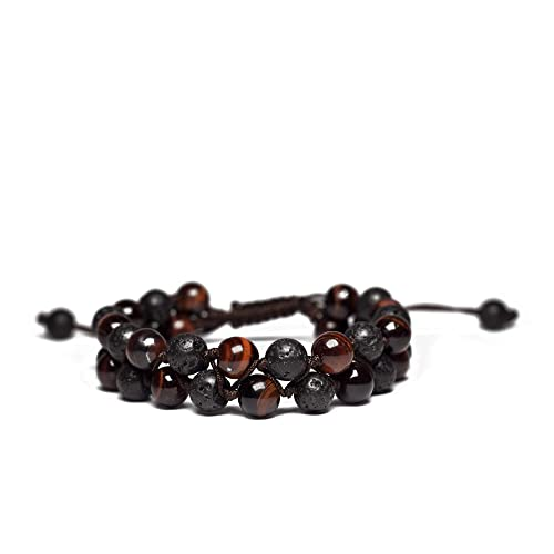 9e0d0bcc08c Handmade Red Tigers Eye & Lava Rock 8mm Beaded Double Wrap Braided Bracelet  - Essential Oil
