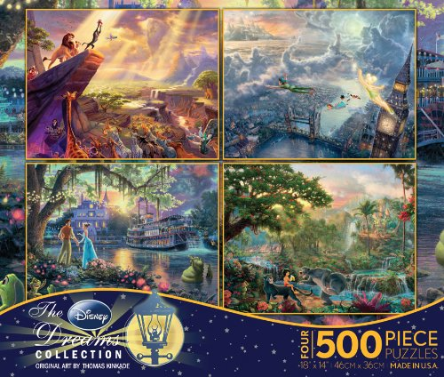 Ceaco-4-in-1-Multi-Pack-Thomas-Kinkade-Disney-Dreams-Collection-Jigsaw-Puzzle-500-Pieces