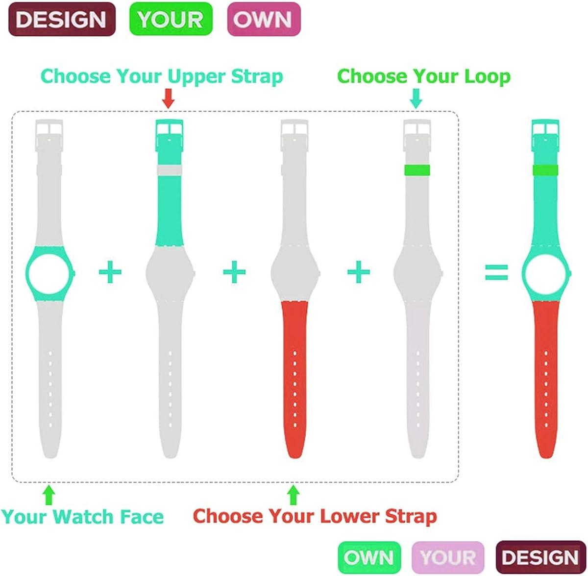 Bracelet en silicone étanche, bracelet pour Swatch (1,7cm, 1,9cm, 2cm) Translucence