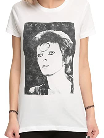 f991b2e1fcd Amazon.com  David Bowie Ziggy Stardust White Juniors Girls T-Shirt ...