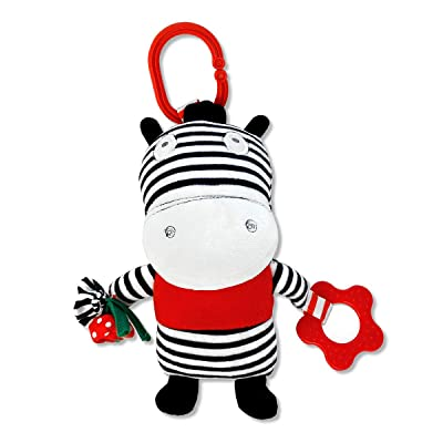 Ziggy The Zebra Black and White, On-The-Go Baby Car Seat Infant Carrier Sensory Toy : Baby