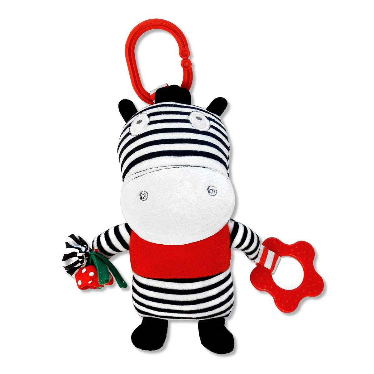 Ziggy The Zebra Black and White, On-The-Go Baby Car Seat Infant Carrier Sensory Toy by Genius Baby Toys