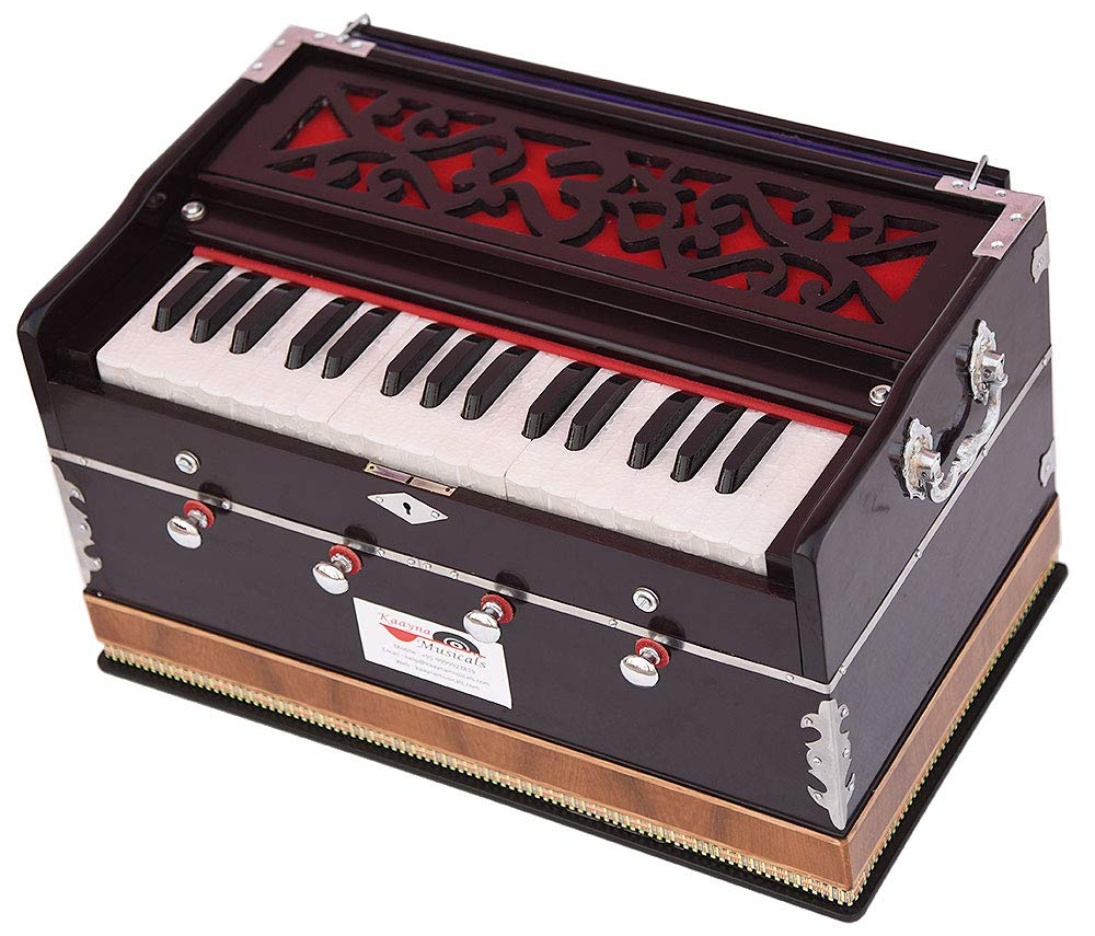 OM Harmonium Mini Magic By Kaayna Musicals, 4 Stop- 2 Main & 2 Drone, 2¾ Octave, Dark Cherry Colour, Gig Bag, Bass/Male- 440 Hz, Best for Yoga, Bhajan, Kirtan, Shruti, Mantra, Meditation, Chant, etc. by Kaayna Musicals (Image #8)