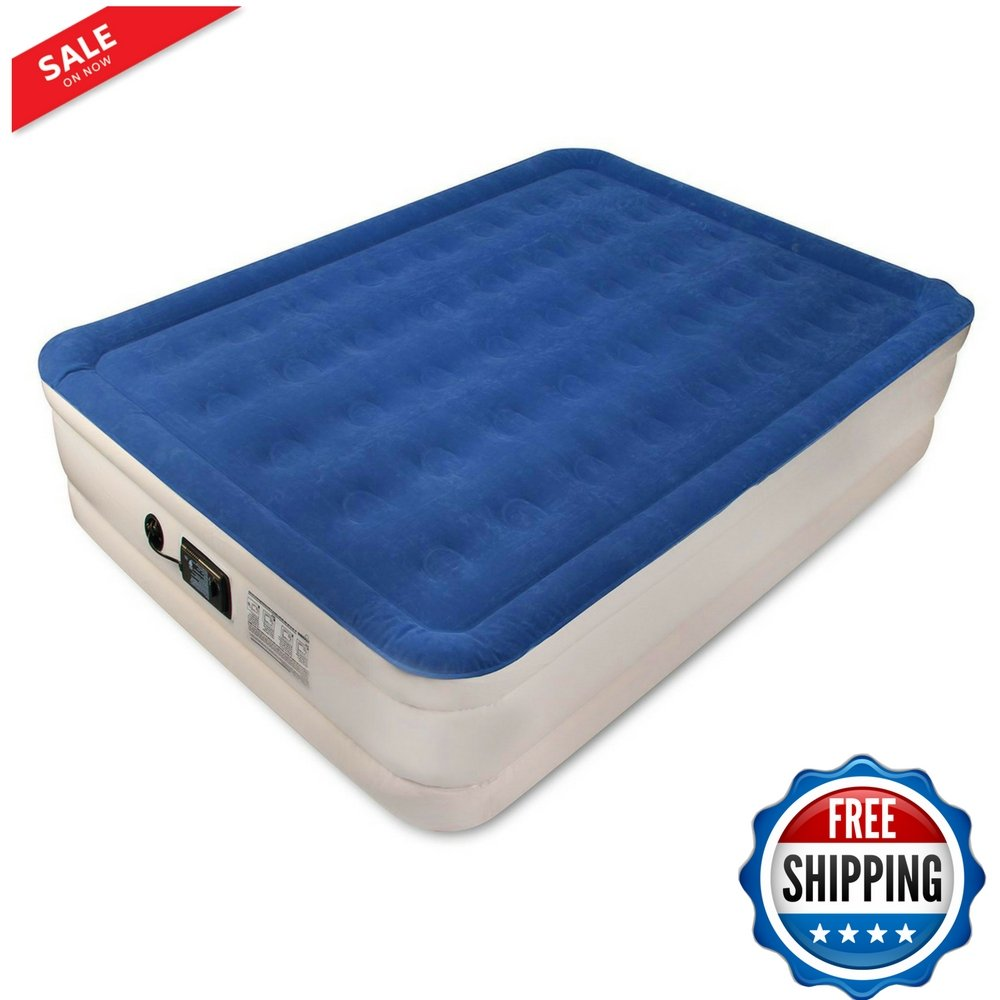 Queen Airbed Mattress Pad Comfort Sleeping Luxury Raised Downy Waterproof Portable Home Use Raised Platform Camping Bed Extra Thick With Carry Bag and Pump & eBook by BADA shop