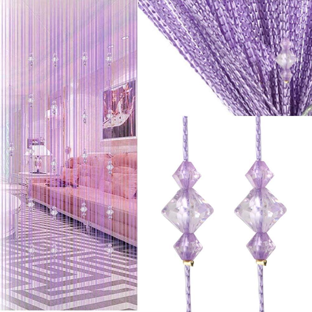 Timere Crystal Beaded Curtain Tassel Curtain - Partition Door Curtain Beaded String Curtain Door Screen Panel Home Decor Divider Crystal Tassel Screen 90x200cm (Purpler#)