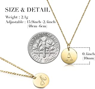 5a4927bae Gold Initial Necklace 14K Gold Plated Disc Engraved 18