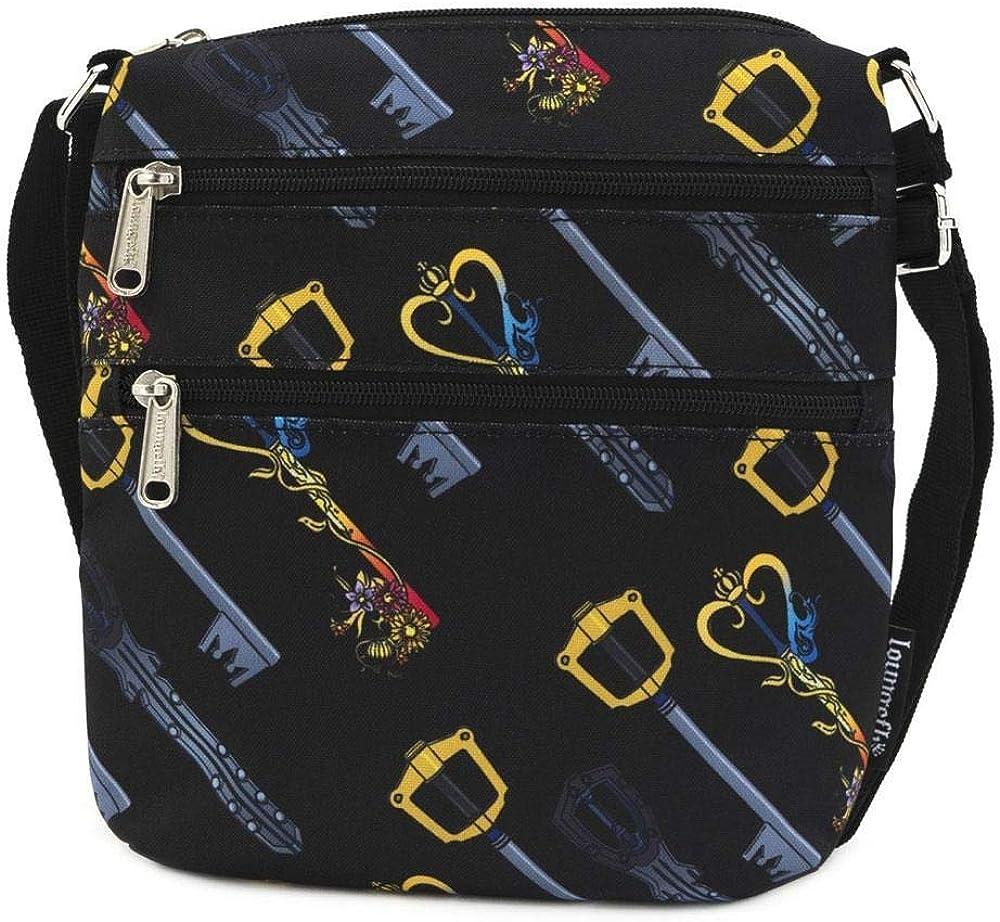Loungefly x Disney Kingdom Hearts Keys Allover-Print Nylon Passport Crossbody Bag