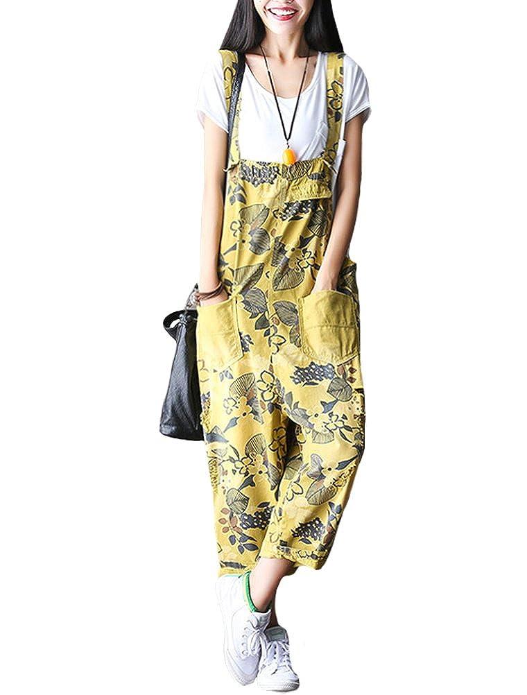 fd5fcffa02e Amazon.com  Mordenmiss Women s Baggy Bib Overalls Denim Cotton Harem Wide  Leg Jumpsuits Style 11 Yellow  Clothing