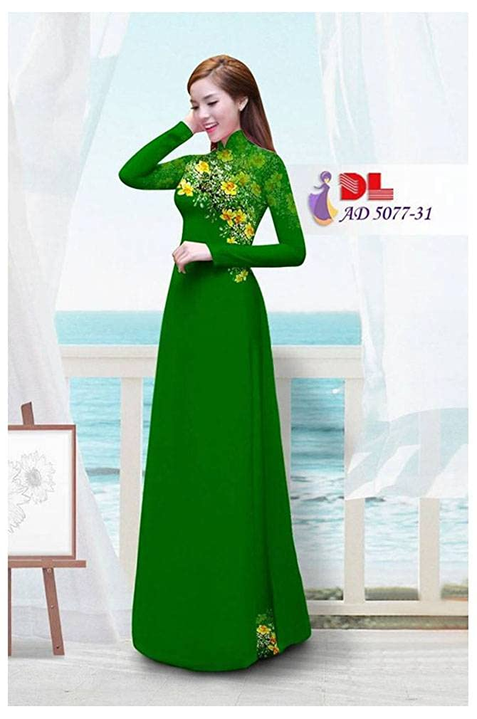 Traditional Vietnamese Long Dress Collections with Pants Silk 3D All Size ADVN00683 Ao Dai