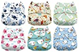 #3: Mama Koala One Size Baby Washable Reusable Pocket Cloth Diapers, 6 Pack with 6 One Size Microfiber Inserts (Funky Farm)