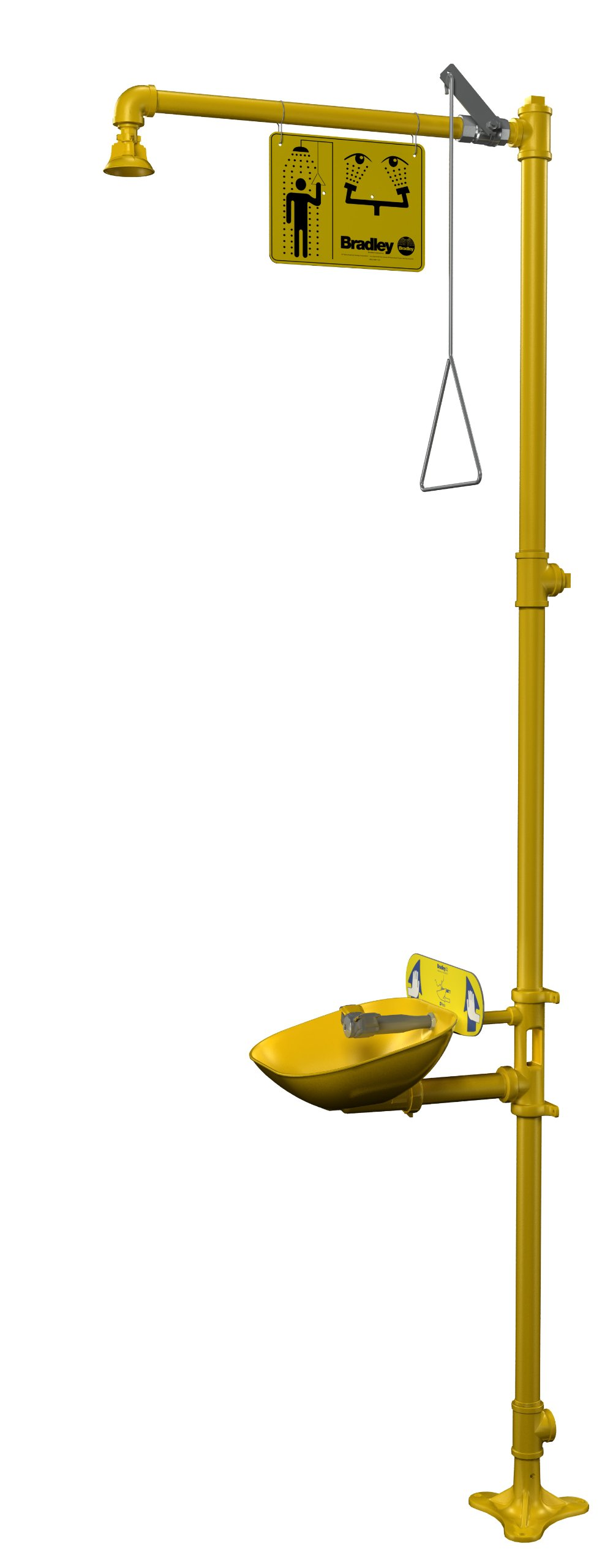 Bradley S19314EW Galvanized Steel 3 Spray Head Halo Combination Drench Showers and Eye Wash Unit with Plastic Showerhead and Bowl, 20 GPM, 18-1/2'' Width x 94-1/8'' Height x 26-13/16'' Depth, Yellow
