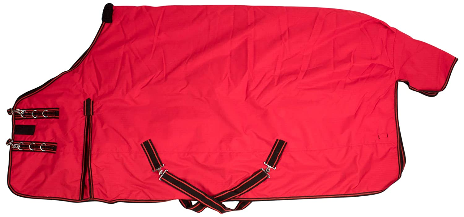 "AceRugs 70"" 72"" 74"" 76"" 78"" 80"" Insulated RED Black Heavy Duty 1200 Denier Waterproof Winter Turnout Horse Blanket 350g Fill"