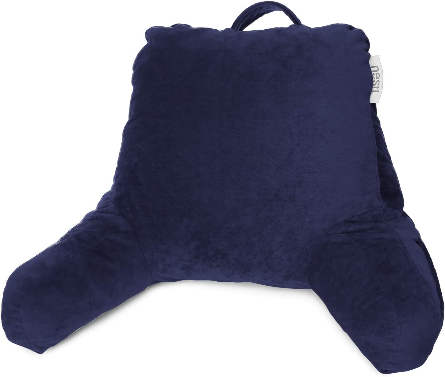 Clara Clark Bed Rest Reading Pillow with Arms and Pockets for for Kids Teens & Adults - Premium Shredded Memory Foam, Medium, Navy Blue