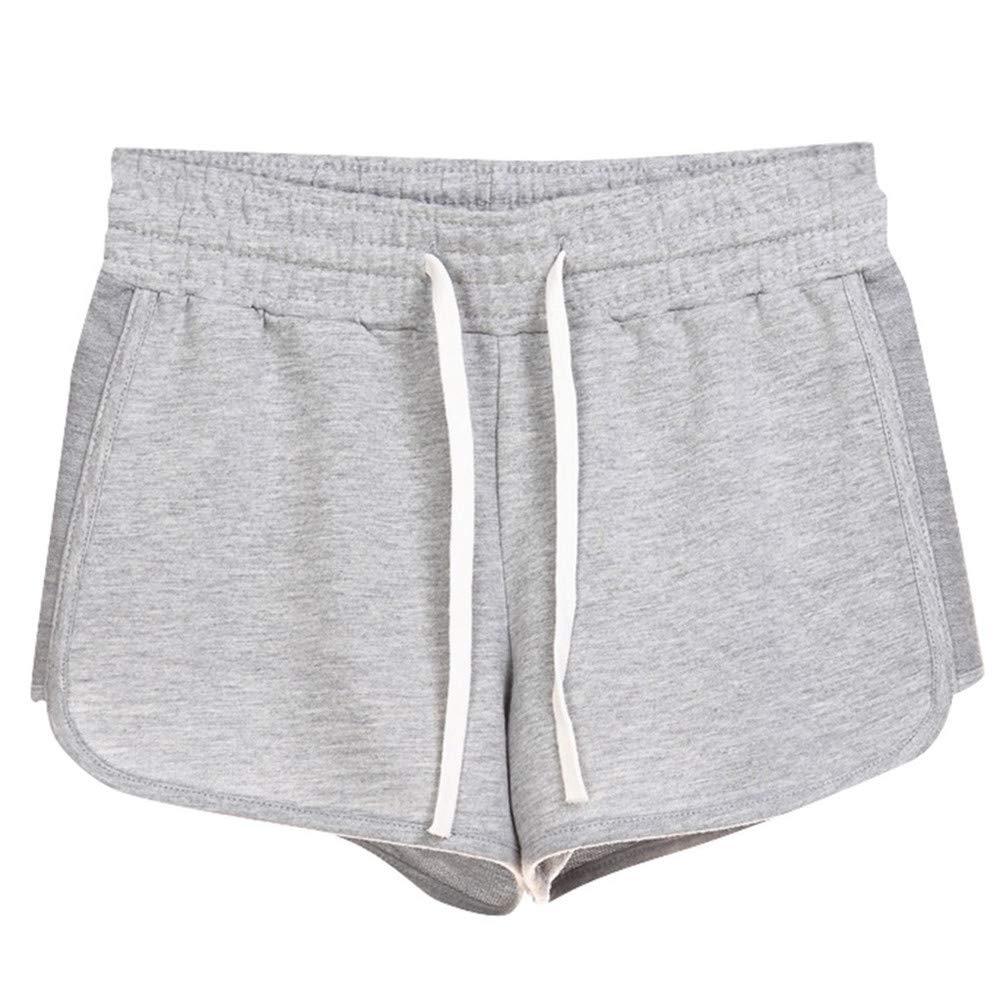 BAOHOKE Solid Color Drawstring Pocket Casual Sports Shorts,Fashion Wide Leg Soft Elastic Waist Hot Pants(Light Gray,XXXL)