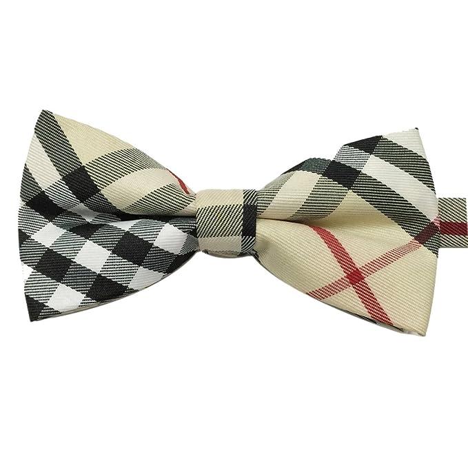 Mens Checkered Stripe Cotton Bow Tie Pre-tied Men/'s Bowtie Wedding Formal Ties