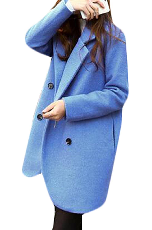 Genhao Women's Casual Slim Wool Blend Long Outwear