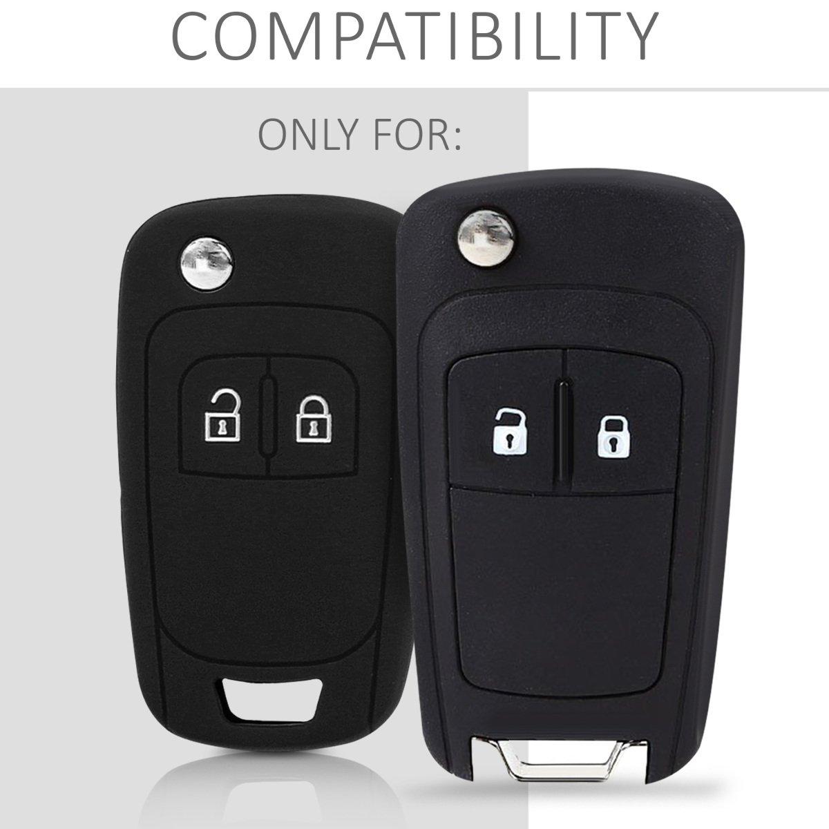 kwmobile Funda de Silicona para Llave Plegable de 2 Botones para Coche Opel Chevrolet - Carcasa Protectora Suave de Silicona - Case Mando de Auto ...
