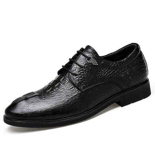 Zapatos Derby Negros para Hombre, Marrón, Cocodrilo Negro, Negocio, Vestido, Zapatos Oxford para Hombre,Blackcrocodile-45EU: Amazon.es: Zapatos y ...