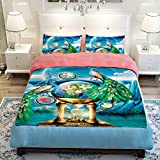 MeMoreCool Home Textile, Elegant Peacock Bedding Set, Creative 3D Design Duvet Cover Set, Adults Bedding Set, Flat Sheet / Fitted Sheet(4-Piece,Full)